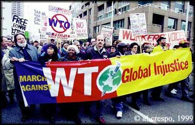 WTO protestors in Seattle, 1999.