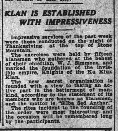 An Atlanta Constitution clipping from Nov. 28, 1915 describing the Klan re-establishment atop Stone Mountain.