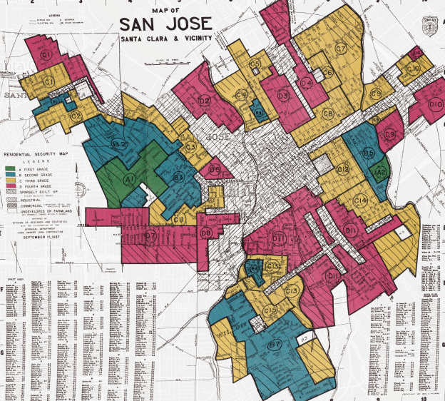 San Jose And San Francisco Map.How Government Redlining Maps Pushed Segregation In California