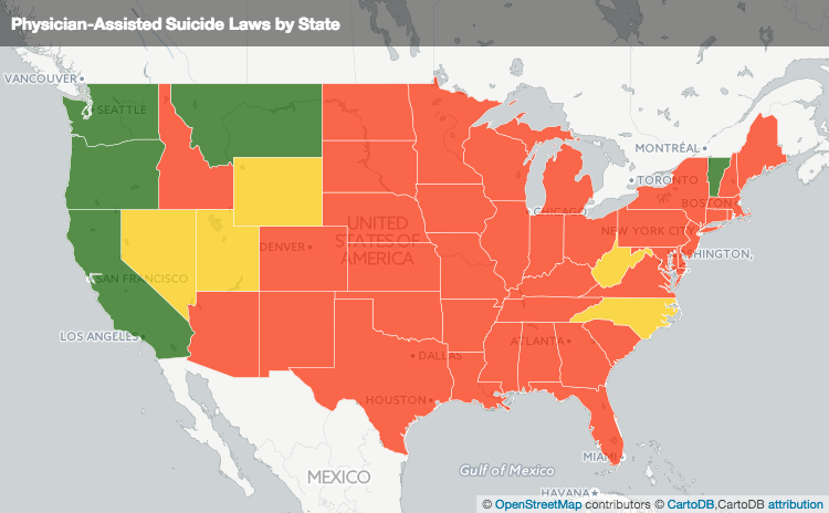 MAP PhysicianAssisted Suicide Laws by State The Lowdown KQED News