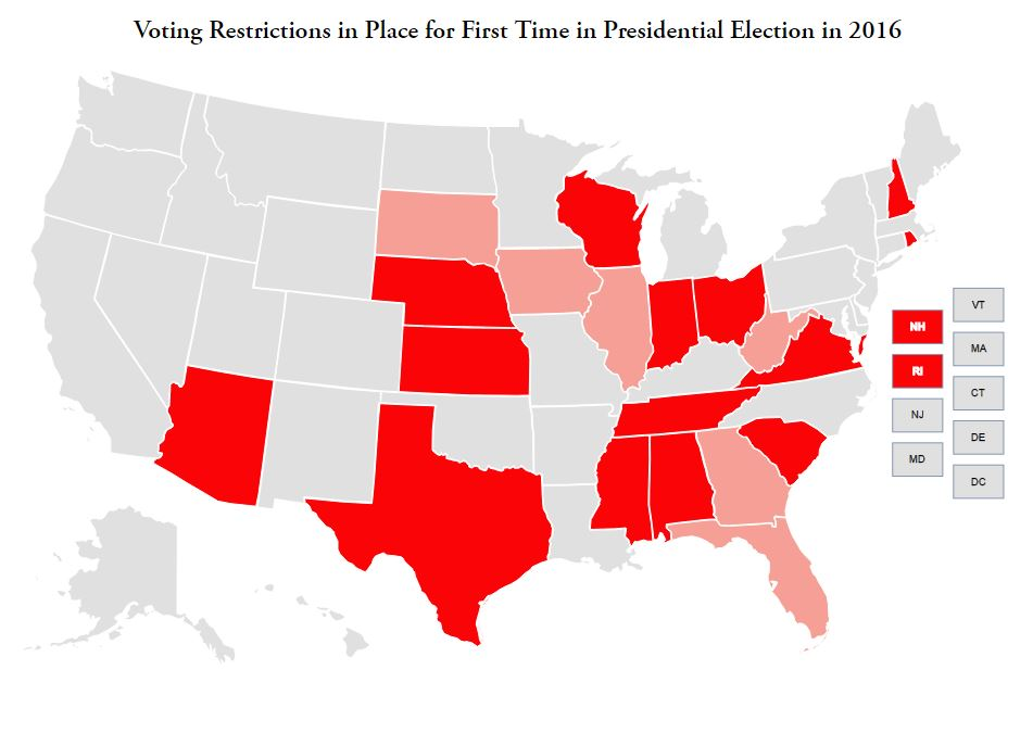 MAP States With New Voting Restrictions In Place For The - Map of voter id laws in the us