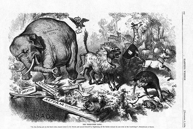"""""""The Third-Term Panic"""" by Thomas Nast, originally published in Harper's Magazine in 1874."""