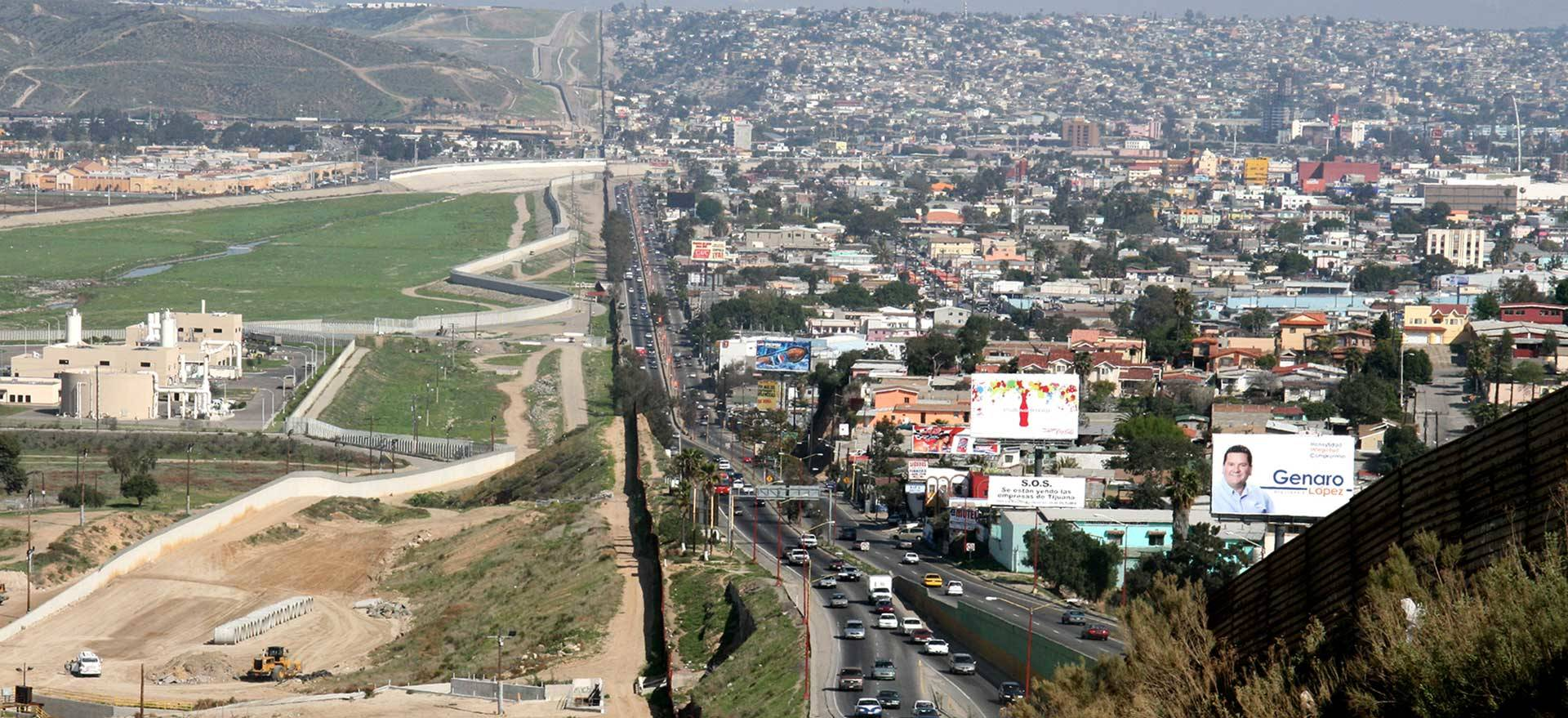 A small fence separating Tijuana, Mexico, right, from San Diego. (Gordon Hyde/U.S. Army)