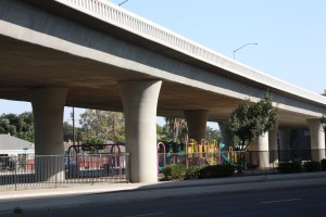 Children's park located under a freeway in Fresno.  (Photo: Sasha Khokha)