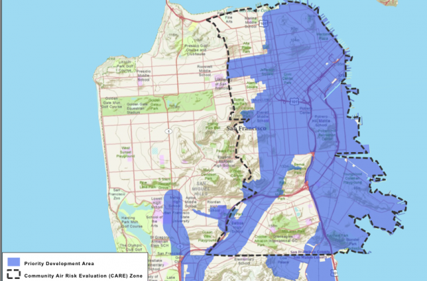"San Francisco map shows ""Priority Development Area"" located almost completely inside an area of concur to the state Air Resources Board. (Map: Pacific Institute)"