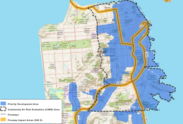 San Francisco map showing 500 foot buffer zone around freeways. (Map: Pacific Institute)