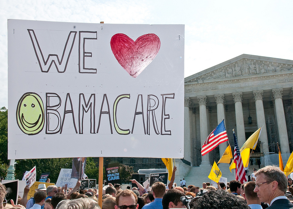 Supporters demonstrate in favor of the Affordable Care Act on June 28, 2012 when the U.S. Supreme Court issued its ruling on the health care overhaul. (SEIU International: Flickr)