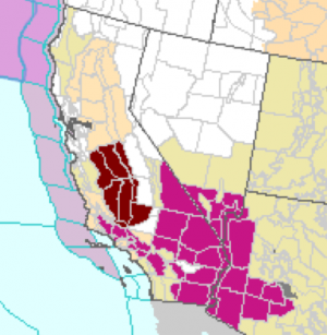 Map from the National Weather Service shows the areas of 'excessive heat' alerts in California.