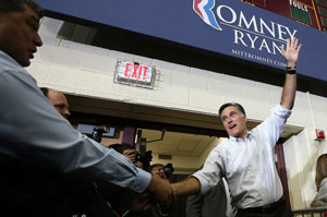 GOP pesidential candidate, former Massachusetts Gov. Mitt Romney greets supporters during a campaign rally in Ohio (Photo by Justin Sullivan/Getty Images).