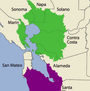"Map of breast cancer ""areas of concern"" in the Bay Area. (Image: California Breast Cancer Mapping Project)"