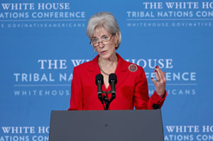 HHS Secretary Kathleen Sebelius, shown here speaking at a conference in Washington last week. (Chip Somodevilla/Getty Images)