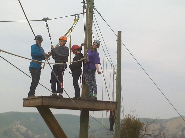 Taylor Gaydon (R) -- a 15-year-old with Type 1 diabetes -- prepares to zipline with friends at a weekend diabetes camp in Livermore. (Photo: Elaine Korry)