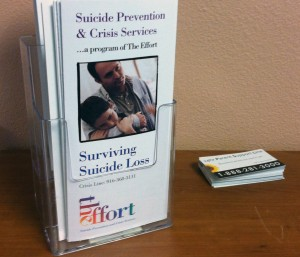 Hotline information for suicide prevention efforts (Photo: Lauren Whaley)