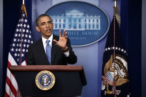 President Obama Takes Questions From The Press During News Conference.