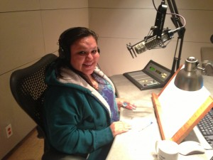 "Shiela Jumping-Bull records her commentary in a KQED studio as part of the ""What's Your Story?"" series."