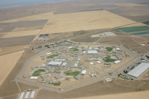 Aerial view of Avenal State Prison, near Coalinga in the Central Valley, where inmates have been hit hard by Valley Fever. (Buzzbo/Flickr)
