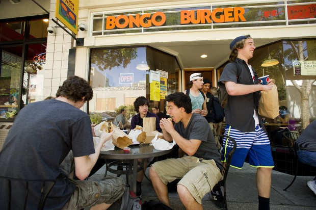 Scott Sowko, a sophomore at Berkeley High School, leaves Bongo Burger after lunching off-campus. School officials say one-tenth of the students take advantage of the healthy lunch served in the school cafeteria. (Noah Berger/Center for Investigative Reporting)