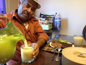 Abel Corona having dinner in his Watsonville home. He is more careful about his diet since he was diagnosed with diabetes. (Vinnie Tong/KQED)