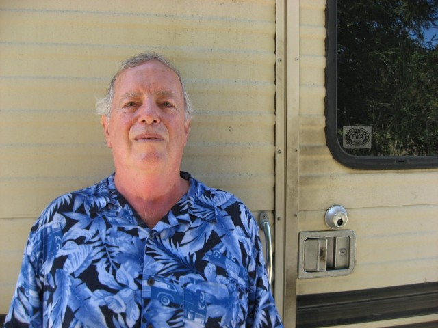 Fred Smith lives in his RV in Palo Alto. (Ryder Diaz/KQED)