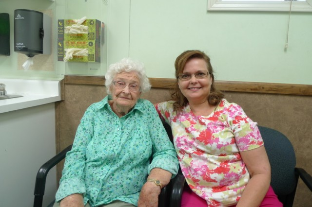 "Maureen Williams (L) seen here with her daughter Carol Baskin, is 95 years old. Williams recently moved away from Firebaugh, but she returns to see Dr. Oscar Sablan. ""He saved my life several times,"" she says. (Photo: Lisa Morehouse)"