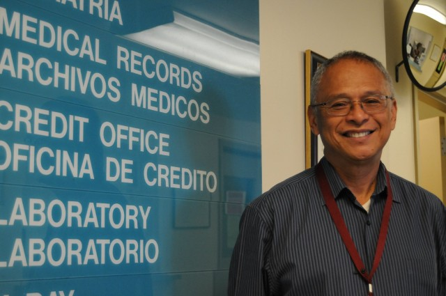 Fernando Gomez-Benitez, with San Francisco's Mission Neighborhood Health Center is undergoing  training to help enroll San Franciscans in Medi-Cal or Covered California. (Angela Hart/KQED)