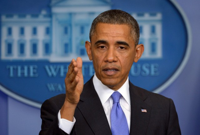 President Barack Obama speaks on the Affordable Care Act in the White House briefing room. (Win McNamee/Getty Images)