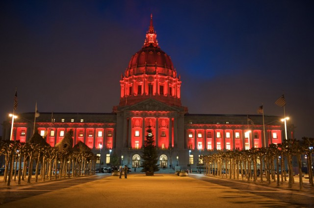 San Francisco City Hall is lit red on World AIDS Day in 2009.  (Steve Jennings/Getty Images)
