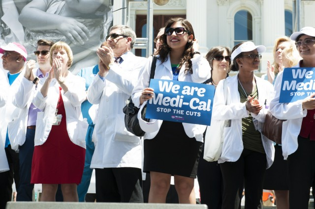 Health care providers joined in a rally at the state capitol to protest cuts in Medi-Cal reimbursement rates in June, 2013. (California Medical Association/Flickr)
