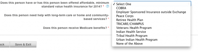 Screenshot from Covered California online application.