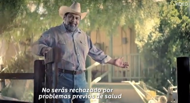 Screenshot from an early Covered California TV ad targeting Latinos. The on-screen text says people cannot be turned down for pre-existing conditions, but consultants say that is not a key selling point for Latinos.