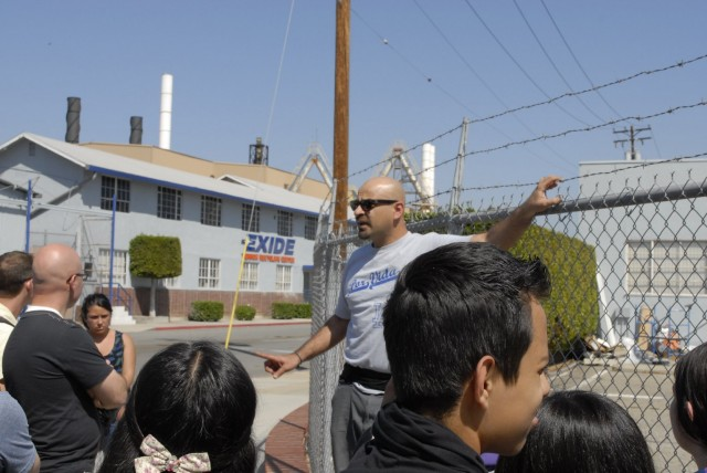 "Roberto Cabrales of Communities for a Better Environment regularly includes the Exide Technologies plant in Vernon in the activist group's ""toxic tour"" of pollution sites to the east and south of Los Angeles. (Chris Richard)"