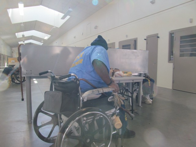 The single-story housing units at the California Health Care Facility in Stockton provide wheelchair access, around-the-clock care for inmates. (Julie Small/KQED)