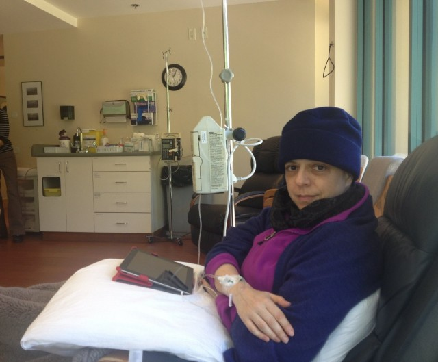 Jennifer Glass of San Mateo, undergoing chemotherapy last year for lung cancer. (Courtesy: Mary Thomas)