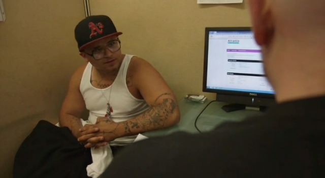 Rodrigo Salido, recently released from Santa Rita jail in Dublin, Calif., enrolls in Medi-Cal at Healthy Oakland clinic. (Courtesy: PBS NewsHour)
