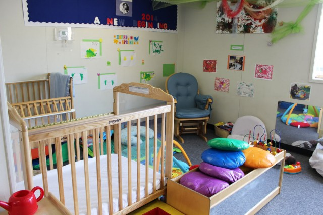One of the nurseries at Fruitvale Academy,, an education program for pregnant and parenting teens and their children. (Brittany Patterson/KQED)