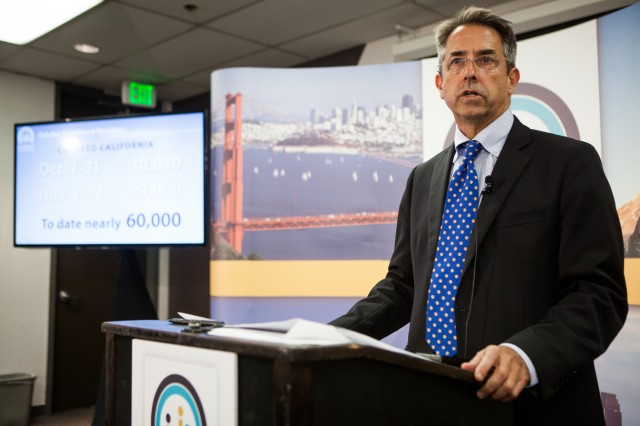 Covered California executive director Peter Lee, seen here at a November, 2013, press conference. (Max Whittaker/Getty Images)