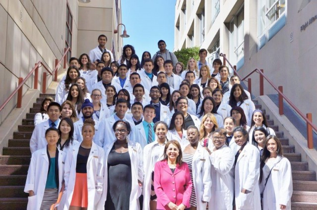 Graduating seniors from the three Doctors Academy sites in Fresno. Dr. Katherine Flores, founder of the academy, stands in the front row. (Courtesy: Doctors Academy)