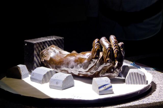 "Photo of Auguste Rodin's ""Left Hand of Eustache de St. Pierre"" druing the 3D scanning process. (Photo: Matthew Hasel, © Division of Clinical Anatomy, Stanford University School of Medicine)"