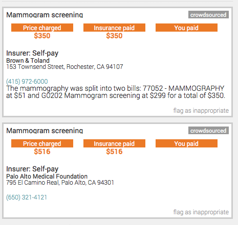 (screenshot of mammogram prices submitted by KQED audience members from our PriceCheck project)