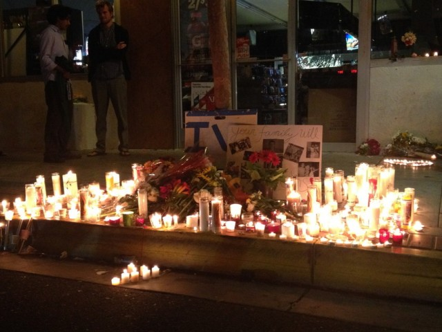 An impromptu memorial in Isla Vista, Calif. for a victim of the mass shooting May 23, 2014. (Diane Block/KQED)