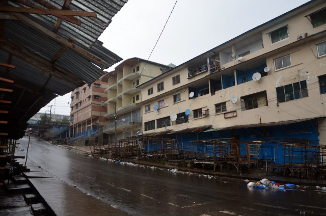 Shops remain closed in Monrovia's West Point slum as part of quarantine measures to contain the spread of Ebola. (ZOOM DOSSO/AFP/Getty Images)