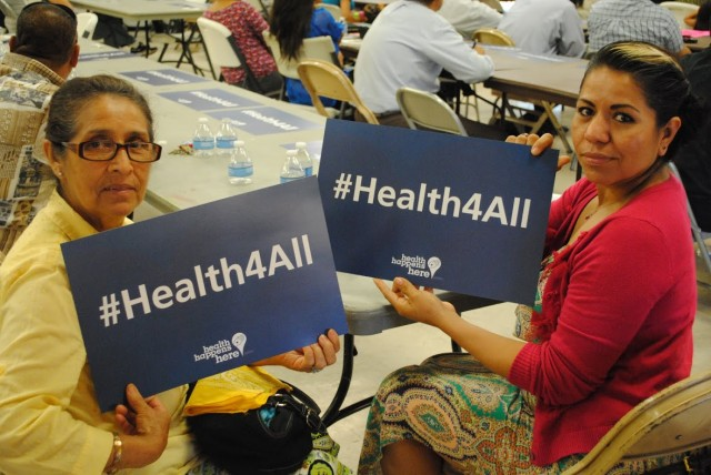 Fresno residents demonstrate their support for a county health program that covers care for undocumented immigrants (Courtesy: Fresno Building Healthy Communities)