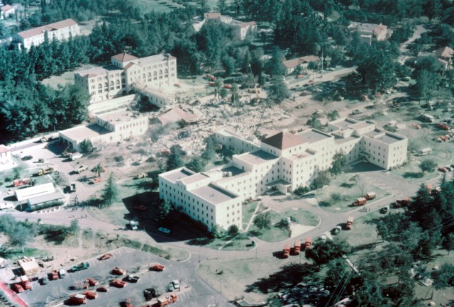 Two buildings at the Veterans Hospital in San Fernando collapsed during the 1971 Sylmar quake. (Photo: USGS)