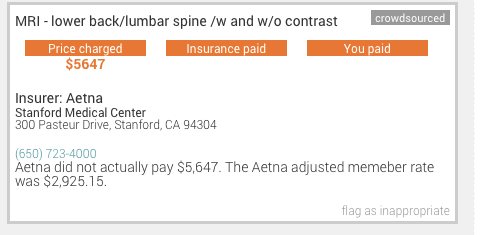 A screenshot of a consumer's price charged for a lower back MRI at Stanford, from KQED's PriceCheck project.