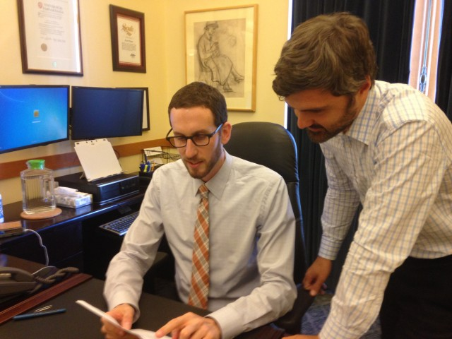 San Francisco Supervisor Scott Wiener (left) says he started taking a drug to prevent HIV infection earlier this year. (Lisa Aliferis/KQED)