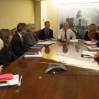 Gov. Jerry Brown meets with state officials, including Dr. Ron Chapman, state health officer, on