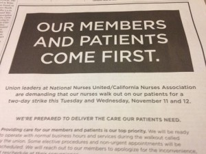 Kaiser Permanente is running ads in Northern California papers in advance of the proposed strike. (Lisa Aliferis/KQED)