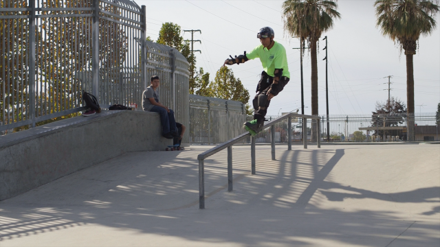 Frank Hernandez, 72, slides down a rail at a skatepark in Delano, CA.