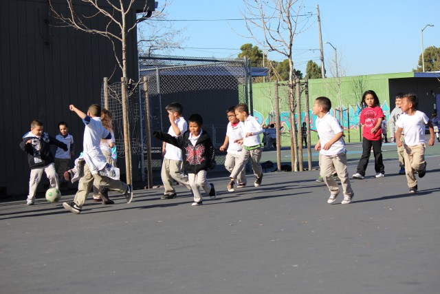 Recess at Cox Academy in Oakland. (Jane Meredith Adams/EdSource)