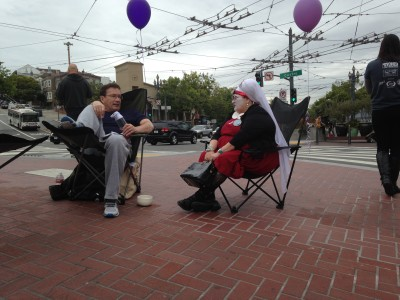 The Sisters of Perpetual Indulgence also set up some chairs in the Castro to host Sidewalk Talks.